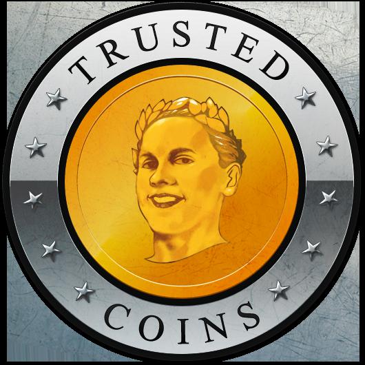 TrustedCoins.com Logo with Ilya Zlobin's portrait