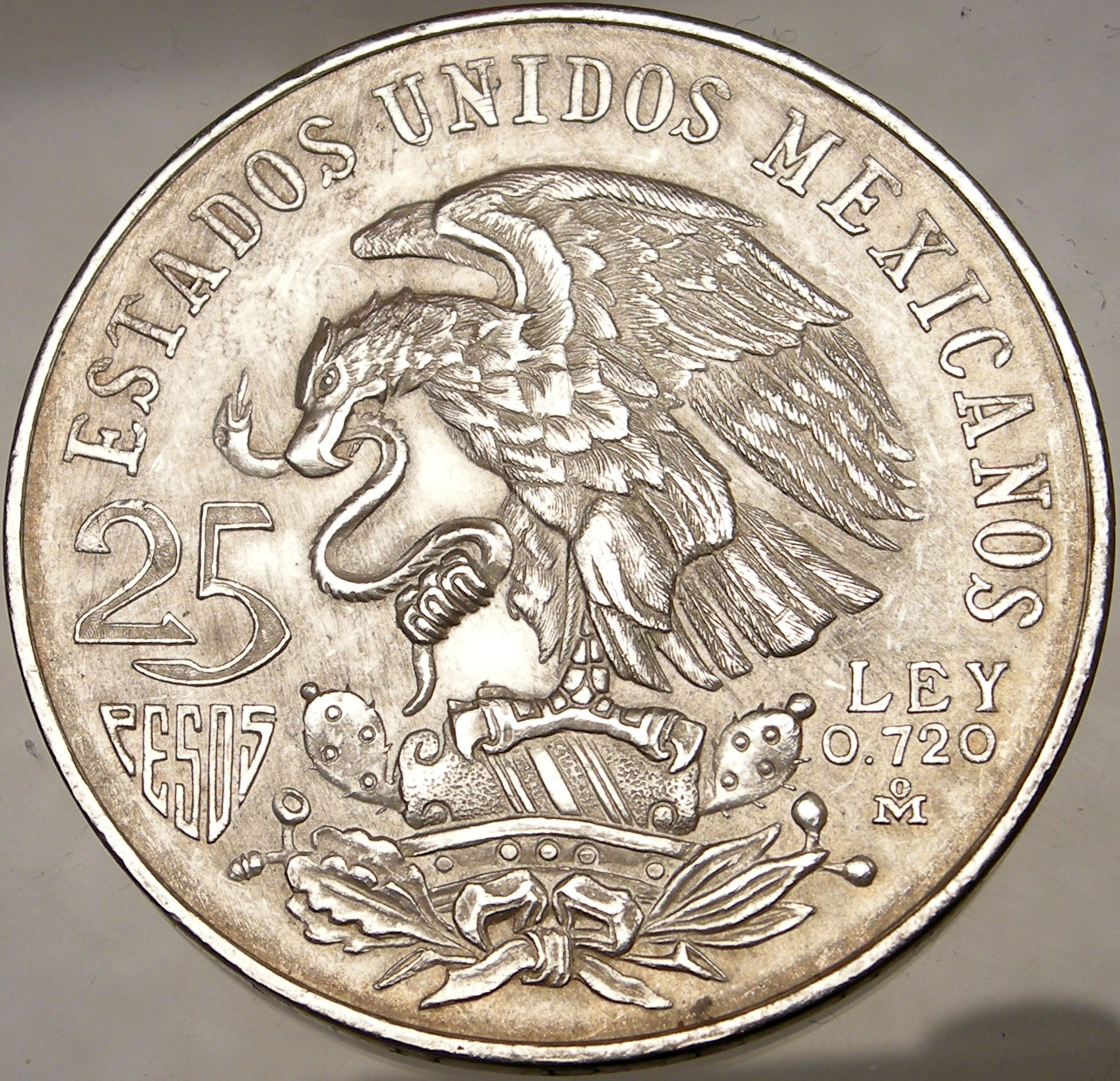 Mexico 1968 25 Peso Olympics 72 Large Silver Coin Eagl