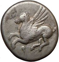 Ancient Silver Greek Pegasus Coin from Corinth for Sale