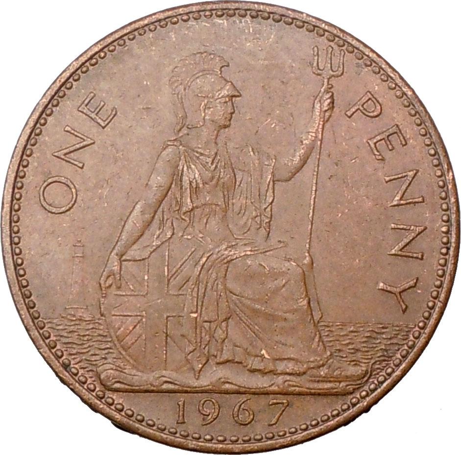 One Penny Uk 1967 Elizabeth Ii Coin Ebay