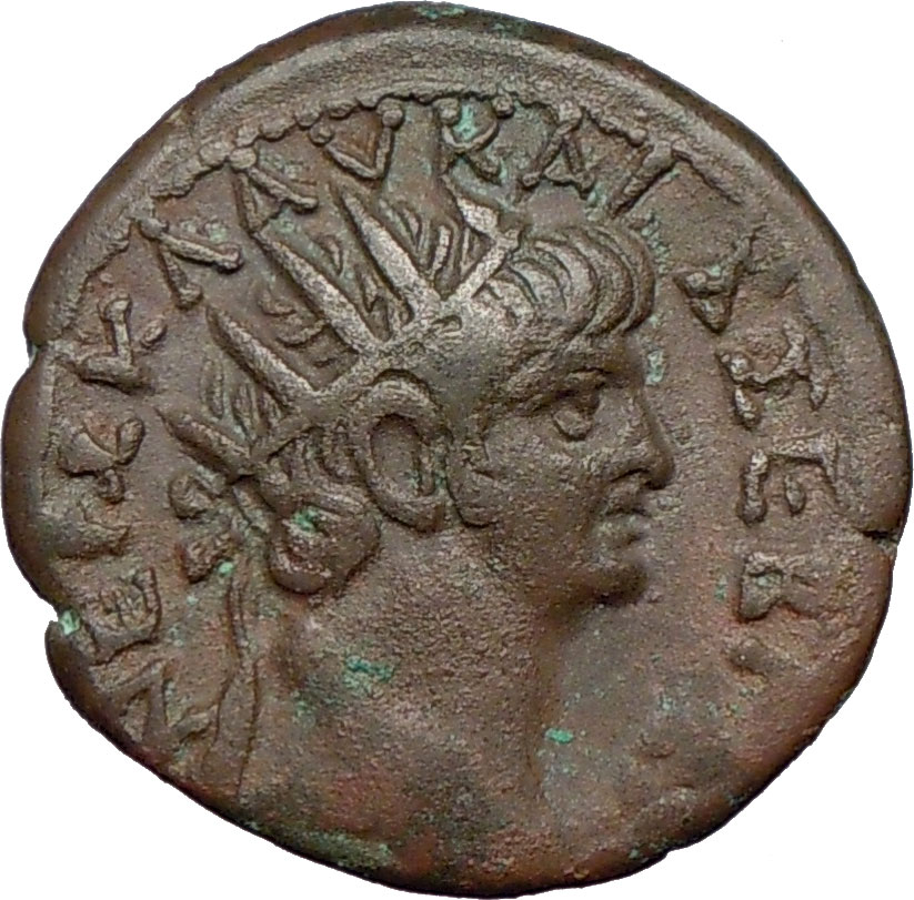 NERO 63AD Alexandria Egypt Ancient Roman Coin SERAPIS