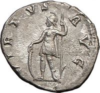Virtus, the personification of valor, on ancient Roman coins,