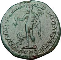 Ancient Roman Coin of Greek City with Hermes the Ancient Greek God of Commerce