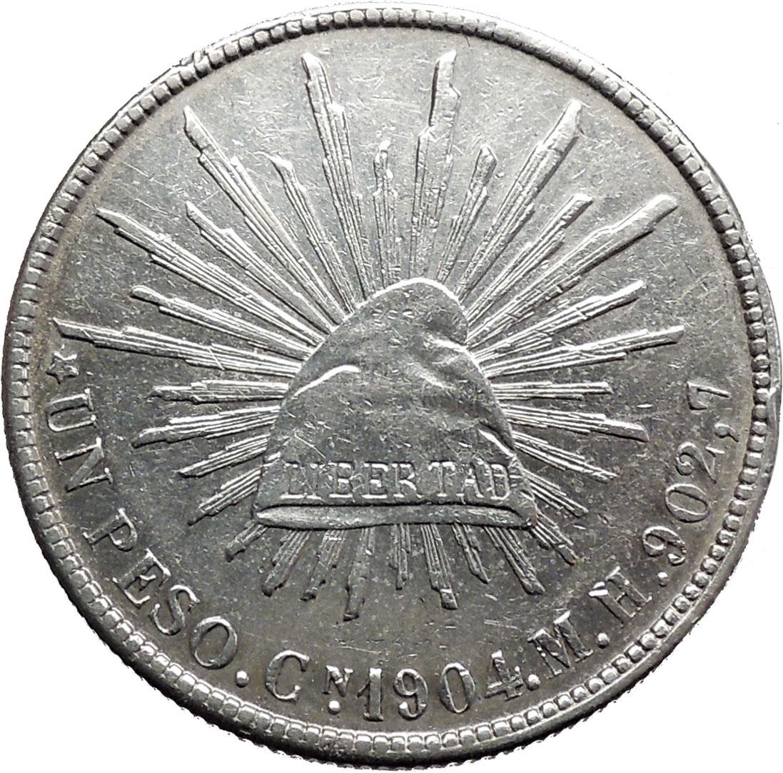 1904 Mexico City Un Peso Cap Of Liberty Coat Of Arms