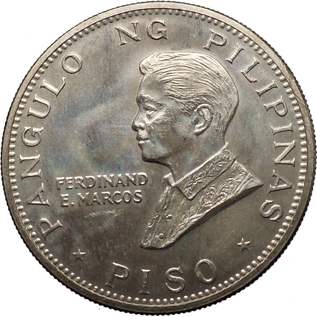 1970 Philippines Pope Paul Vi President Ferdinand Marcos Large Piso Coin I53082 Ebay