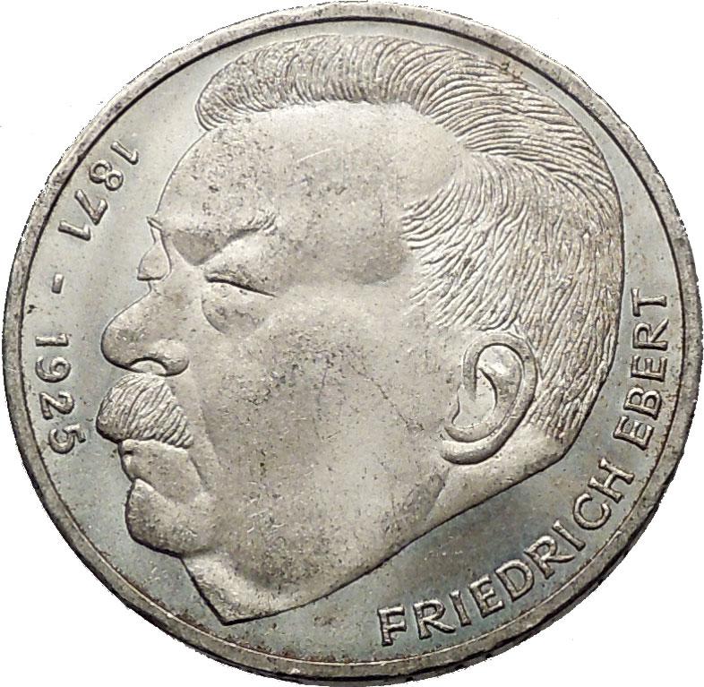1975 germany 5 marks silver coin first german president. Black Bedroom Furniture Sets. Home Design Ideas