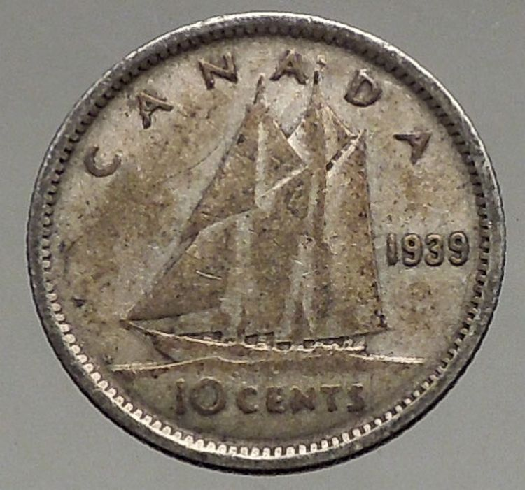 1939 Canada King George Vi Silver 10 Cent Silver Coin