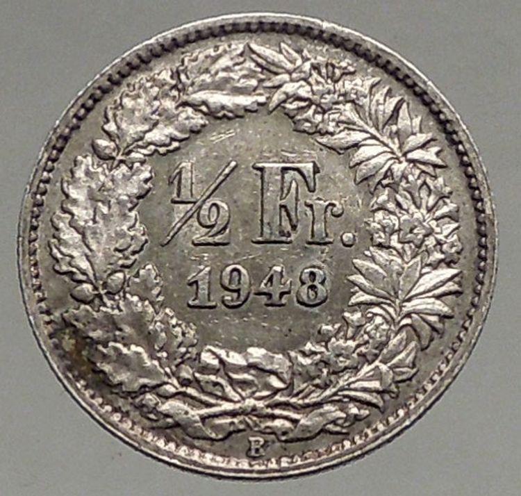 1948 Switzerland Silver 1 2 Half Franc Coin Helvetia