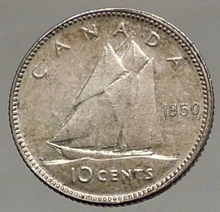 1950 Canada King George Vi Silver 10 Cent Silver Coin