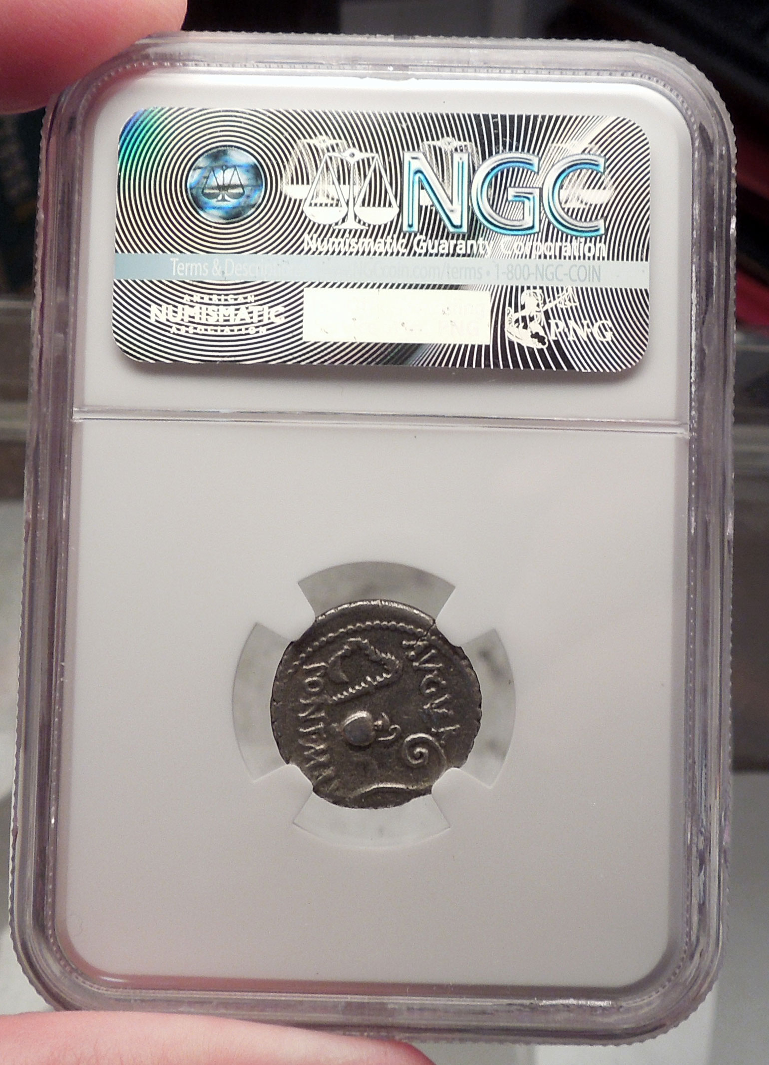 Julius Caesar Ngc Certified Vf Ancient Silver Roman Coin Thapsus