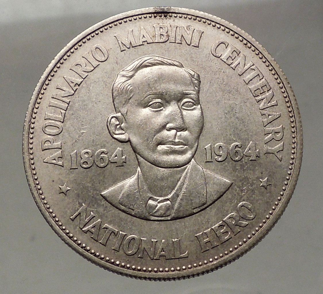 Coin Ph: 1964 PHILIPPINES Large 1 Peso SILVER Coin Birth Of HERO
