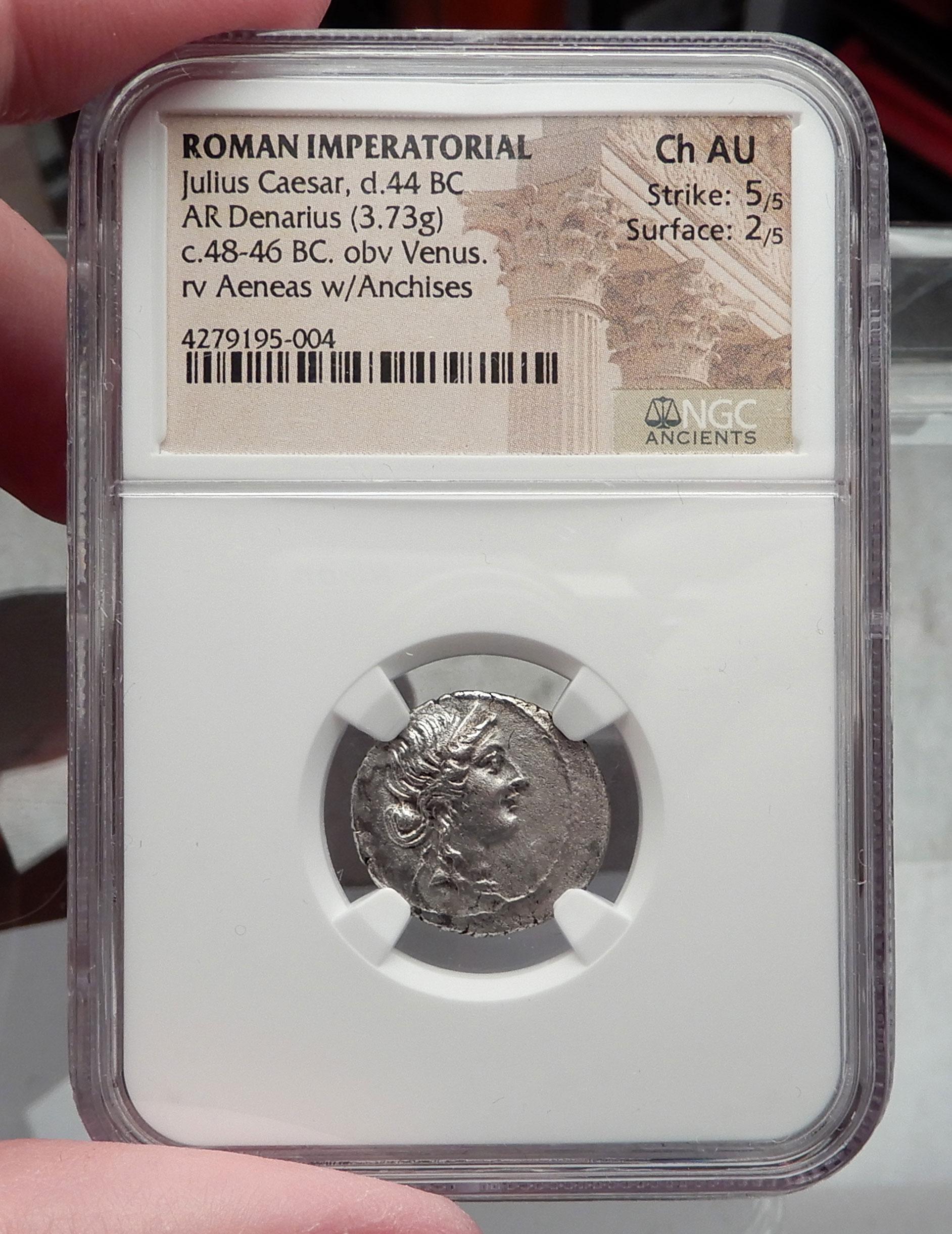 Julius Caesar 48bc Ancient Silver Roman Coin Venus Troy Rome