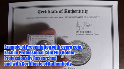 Ilya Zlobin's COA and Guarantee for His Coins